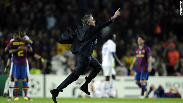 Mourinho sprinted on to the field at the Camp Nou following his Inter side's aggregate victory over Barcelona in the 2010 Champions League semifinal. The Portuguese coach had started his career at the Catalan club as translator to the late Sir Bobby Robson.
