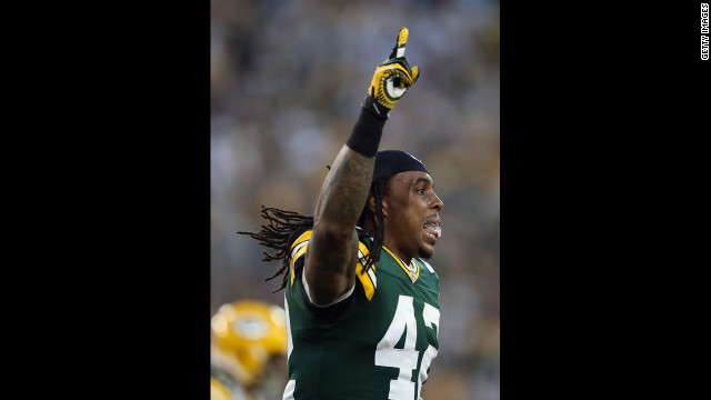 Morgan Burnett of the Green Bay Packers celebrates a missed field goal by the the New Orleans Saints in the fourth quarter Sunday.