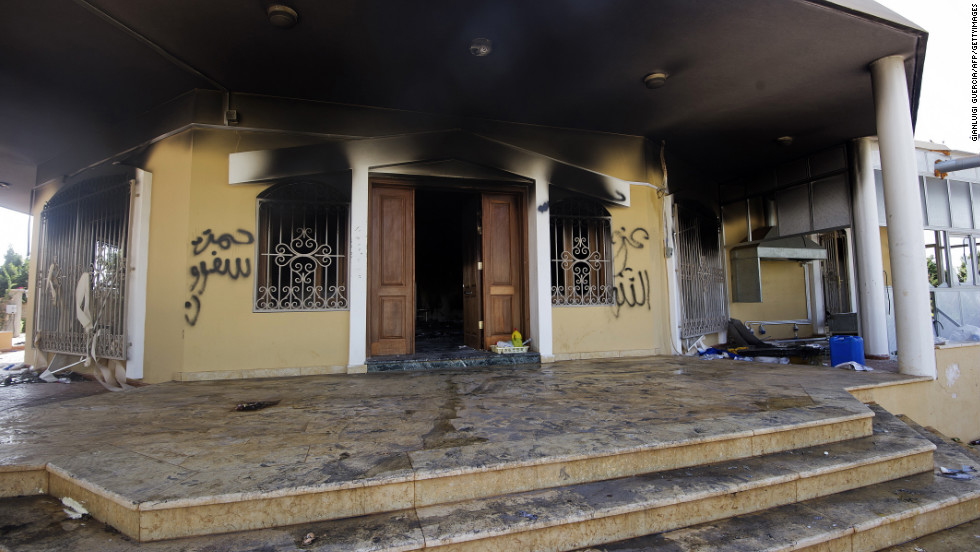 Demonstrators set the U.S. Consulate compound in Benghazi, Libya, on fire on September 11, 2012. The U.S. ambassador and three other U.S. nationals were killed during the attack. The Obama administration initially blamed a mob inflamed by a U.S.-produced movie that mocked Islam and its Prophet Mohammed, but later said the storming of the consulate appears to have been a terrorist attack. &lt;a href='http://www.cnn.com/2012/09/11/middleeast/gallery/cairo-embassy/index.html'&gt;View photos of protesters storming the U.S. Embassy buildings.&lt;/a&gt;