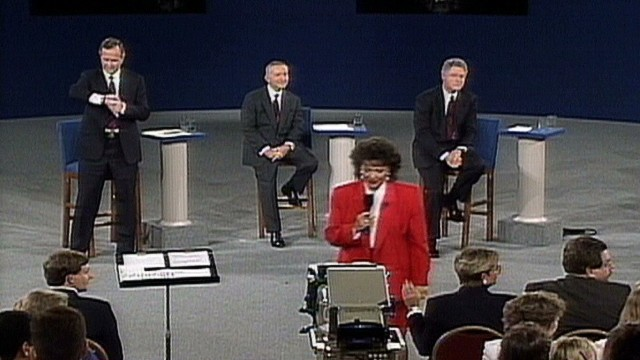 President George H.W. Bush looked at his watch during a question at a town hall debate in 1992.
