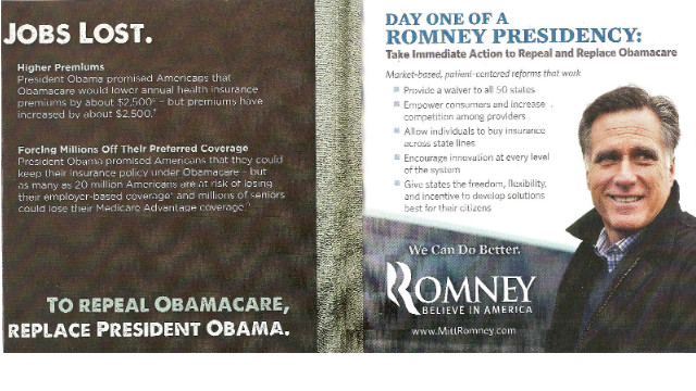 Romney mail piece takes aim at &#039;Obamacare&#039;