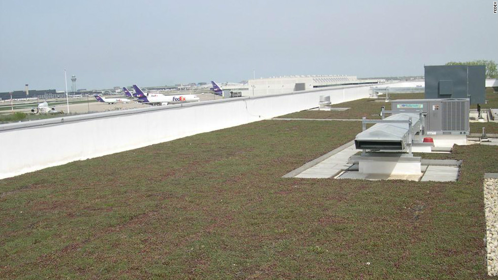 FedEx Express has worked with Chicago O'Hare International to install a living roof atop its main sorting building. The feature is one of 12 living roofs planted across Chicago's three main airports.