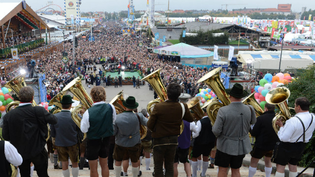Musicians perform in front of the Bavaria statue during the Oktoberfest concert in Munich on Sunday, September 30.