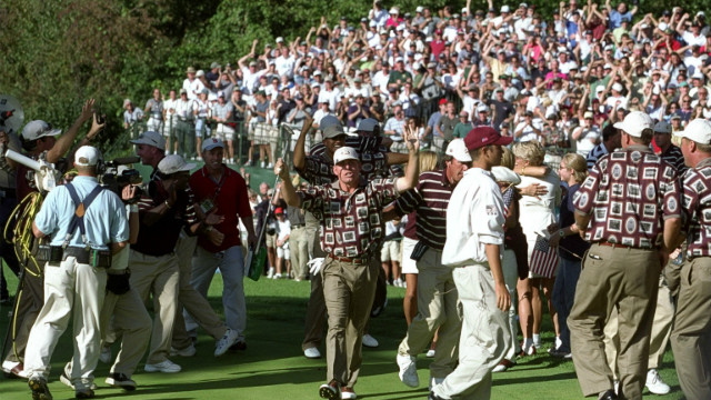 Europe's victory echoed the 1999 Ryder Cup, where the U.S. also came from 10-6 down to win 14 - 13. The 'Battle of Brookline' was bathed in controversy as U.S. players stormed the 17th green in celebration at s crucial Justin Leonard putt. Golfing etiquette had been broken as Leonard's opponent, Jose Maria Olazabal, could still have squared their match. 