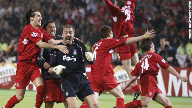 Liverpool captain Steven Gerrard famously slept with the trophy in his bed after his team's sensational win in European football's Champions League in 2005. But all 11 men on the pitch had to keep cool heads as Liverpool came back from 3-0 down at halftime to beat Italy's AC Milan on penalties in the final.