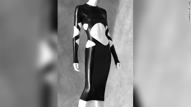 This latex dress by Norma Kamali displays skillful cutting.