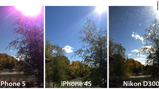 A comparison by Mashable of smartphone and camera photos shows a purple glare on pics taken with the iPhone 5.
