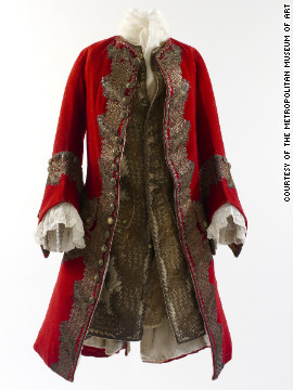 This wool broadcloth coat with gilt thread and sequin embroidery, and its matching waistcoa, are most likely British and hail from 1730.