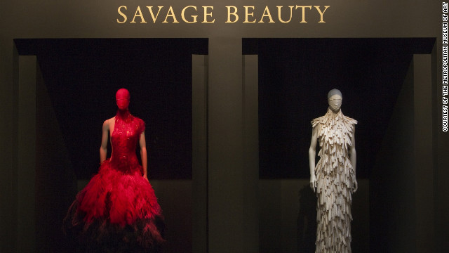 Pictured is the title wall from the Costume Institute's wildly popular 2011 exhibition, &quot;Alexander McQueen: Savage Beauty,&quot; which celebrated the late British designer and couturier and featured about 100 ensembles and 70 accessories from his 19-year career. 