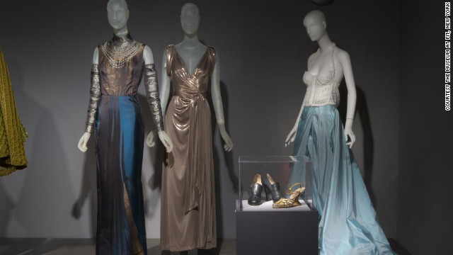 The &quot;Fashion, A-Z: Highlights from the Collection of the Museum at FIT, Part Two&quot; exhibition through November 12 includes these evening gowns (from left) from Jean Paul Gaultier, Diane von Frstenberg and Gianfranco Ferr and footwear from Salvatore Ferragamo.