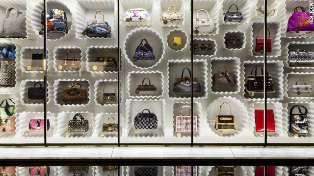 Dozens of Marc Jacobs-designed Louis Vuitton bags were on display in the museum's &quot;Louis Vuitton Marc Jacobs&quot; exhibit, which covered two floors and told the fascinating stories of both design innovators' industry-changing careers. 