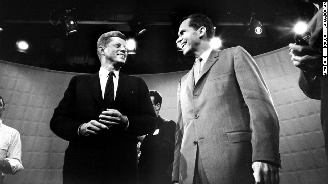 A younger, more telegenic John F. Kennedy outshined Richard Nixon in the first televised presidential debate in 1960.