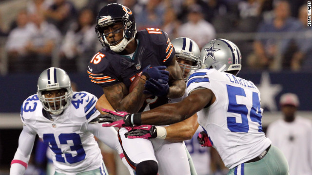 Brandon Marshall of the Chicago Bears makes a reception for a first down against the Dallas Cowboys on Monday, October 1, in Arlington, Texas. The Bears beat the Cowboys 34-18. &lt;a href='http://www.cnn.com/2012/09/20/football/gallery/nfl-week-3/index.html' target='_blank'&gt;Look back at the best of NFL Week Three.&lt;/a&gt;