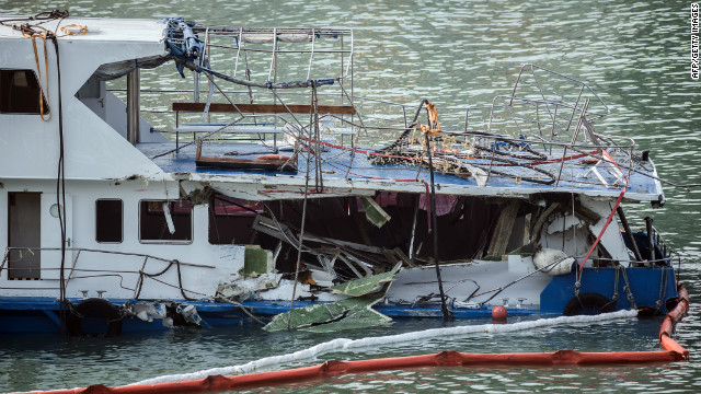 The damaged Lamma IV passenger boat sits offshore on Wednesday.