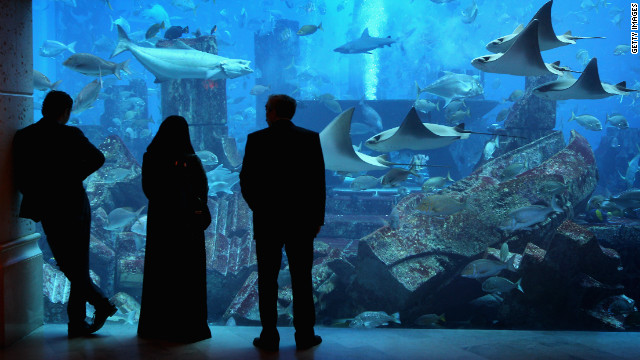 People in traditional dress watch fish in a giant tank at Atlantis the Palm Hotel in Dubai.
