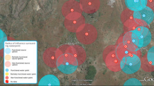 A map from Virtual Kenya shows acceptable distances to water access points.