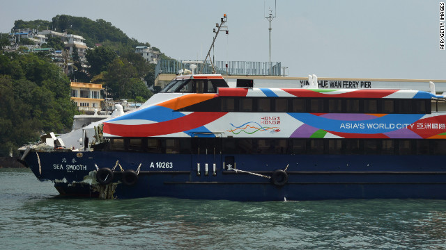 The Sea Smooth ferry, with its bow badly damaged, sits docked at the Lamma Island pier on Tuesday, October 2.