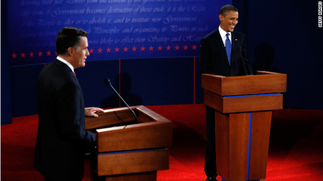 Mitt Romney, left, and President Barack Obama face off in the first presidential debate on October 3. 