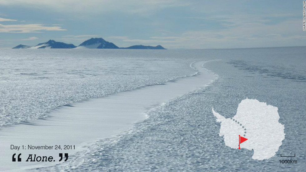 "British explorer Felicity Aston is the first woman in the world to have skied solo across Antartica. She sent tweets throughout her 59-day journey. On day one she tweeted simply: ""Alone."""