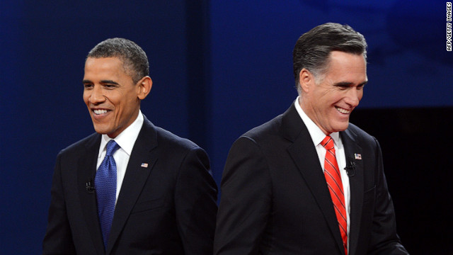 President Barack Obama and Republican presidential candidate Mitt Romney finish their debate in Denver on Wednesday, October 3. &lt;a href='http://www.cnn.com/2012/10/03/politics/gallery/10-3-debate-prep/index.html'&gt;View behind-the-scene photos of debate preparations.&lt;/a&gt;