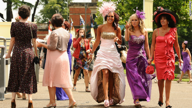 "Ladies at Britain's Royal Ascot tend to have a more flamboyant style than their counterparts across The Channel. ""French dressing is less spectacular,"" says Arc spokesman Julien Pescatore."