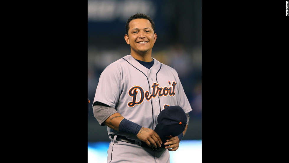 Miguel Cabrera of the Detroit Tigers reacts to the cheering crowd before the start of the game against the Kansas City Royals at Kauffman Stadium on Wednesday, October 3, in Kansas City, Missouri.