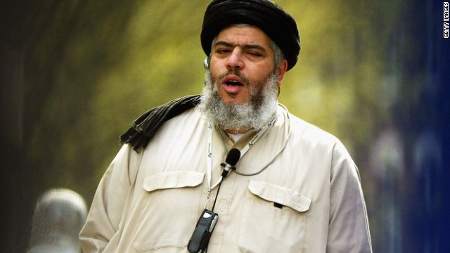 [File photo] Radical Muslim cleric Abu Hamza outside the North London Central Mosque, on April 16, 2004 in London.