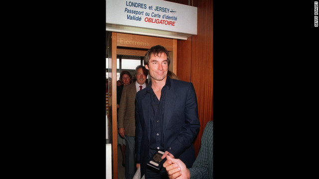Director Timothy Dalton arrives at the Deauville airport in France to promote &quot;The Living Daylights&quot; in September 1987. 