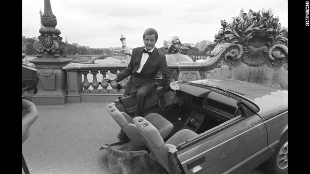 Roger Moore on set during the filming of &quot;A View to a Kill&quot; in Paris, France in August 1984. 