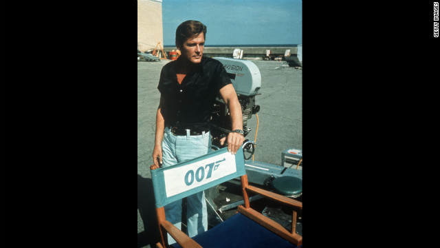 "Roger Moore relaxes on location for the filming of ""Live and Let Die,"" in 1973."