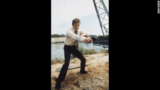 Roger Moore hams it up during the filming of &quot;Live and Let Die,&quot; in 1973.