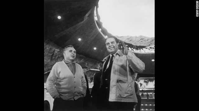 Co-producers Harry Saltzman and Albert &quot;Cubby&quot; Broccoli, right, on the set of &quot;You Only Live Twice&quot; in October 1966.