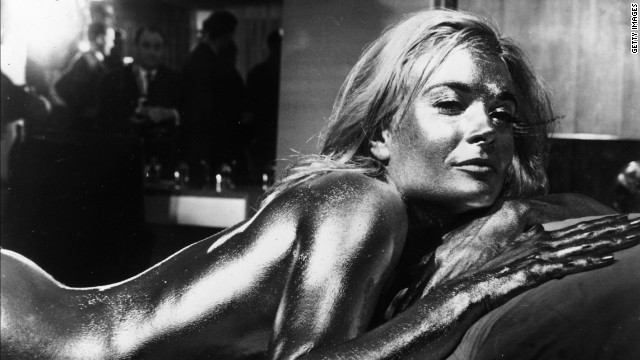 English actress Shirley Eaton covered in gold in the James Bond film &quot;Goldfinger,&quot; directed by Guy Hamilton and starring Sean Connery. 