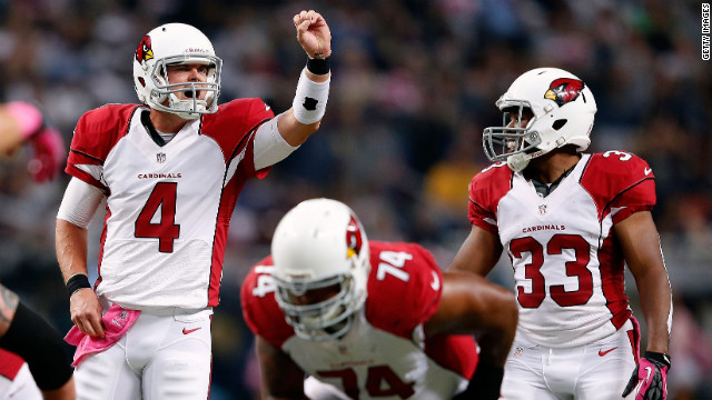 Arizona Cardinals quarterback Kevin Kolb calls out signals Thursday night. &lt;strong&gt;&lt;a href='http://www/2012/09/27/worldsport/gallery/nfl-week-4/index.html' target='_blank'&gt;Look back at the best photos from Week Four of the NFL.&lt;/a&gt;&lt;/strong&gt;