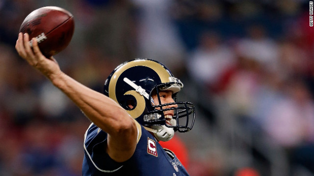 Quarterback Sam Bradford of the St. Louis Rams fires a pass off Thursday against the Arizona Cardinals.
