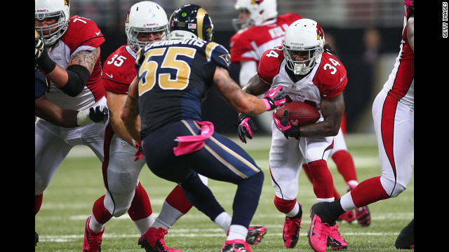 Ryan Williams of the Arizona Cardinals rushes against the St. Louis Rams on Thursday. The Rams handed Arizona its first loss of the season, 17-3.