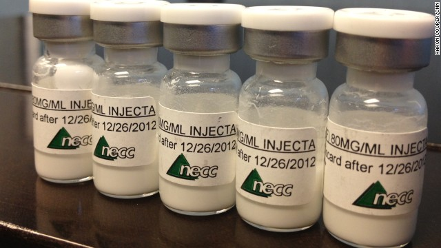 Bottles containing injectable steroids distributed by the New England Compounding Center, suspected in a meningitis outbreak.