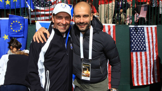 Josep Guardiola, right, gave his support to Europe's victorious Ryder Cup campaign in Illinois last weekend. The former Barca coach has also echoed calls for Catalan secession, declaring on the region's national day: &quot;Here's one more vote for independence.&quot;