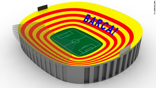 Barcelona's Nou Camp stadium will be transformed into a giant Catalan flag prior to kick off in Sunday's &quot;El Clasico&quot; match against Real Madrid. A total of 98,000 placards will proudly display bands of red and gold.