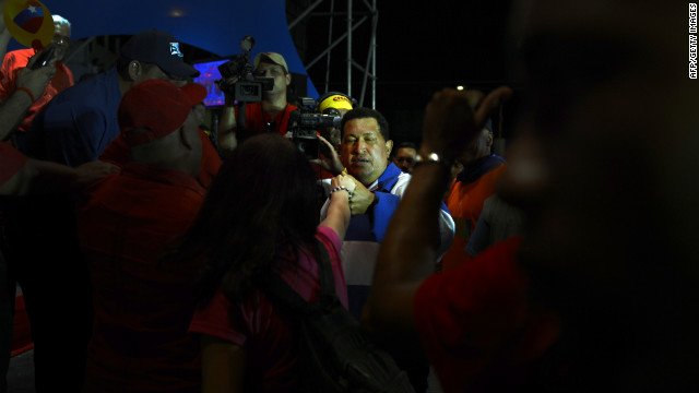 Chavez holds a campaign rally in Valencia on Wednesday.