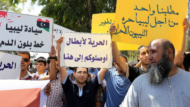 Misrata residents demonstrate in Tripoli on September 8, 2012, demanding the release of three youths abducted from Bani Walid last July.