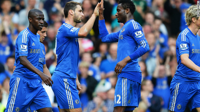 Chelsea's players celebrate Branislav Ivanovic's goal in their 4-1 victory over Norwich at Stamford Bridge.