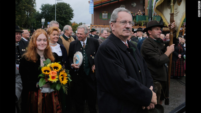 Christian Ude, Munich's lord mayor, attends the traditional Boellerschiessen salute on the last day of Oktoberfest on Sunday.