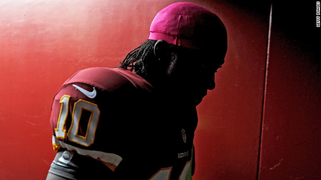 Redskins quarterback Robert Griffin III gets ready to take on the Falcons.