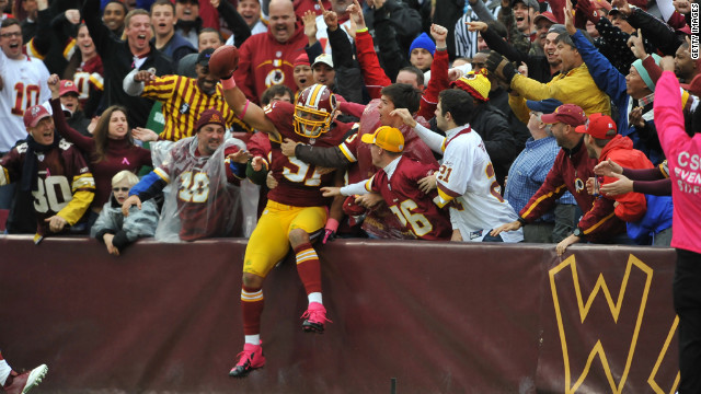 Ryan Kerrigan of the Redskins celebrates after running an interception for a touchdown Sunday against the Falcons.
