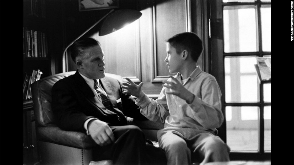 A young Mitt Romney with his father, George, in 1958. George Romney, a one-time governor of Michigan and president of American Motors Corp., unsuccessfully sought the 1968 GOP presidential nomination. He was also secretary of the Department of Housing and Urban Development during the Nixon administration.