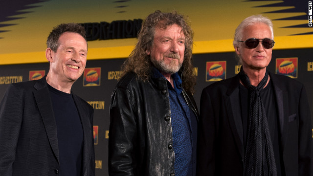 Led Zeppelin's John Paul Jones, Robert Plant and Jimmy Page pose together in September 2012.