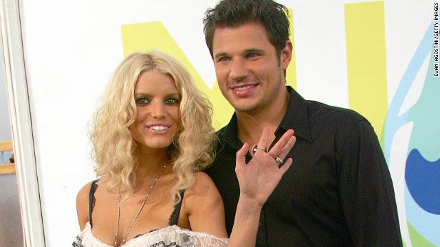 "MTV's ""Newlyweds"" Jessica Simpson and Nick Lachey split in 2005 after their three-year marriage."