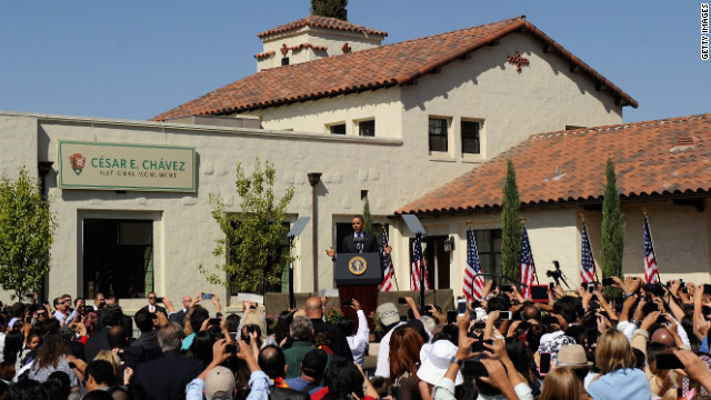 President Barack Obama speaks during the announcement of the Cesar E. Chavez National Monument to honor the late Latino farm worker and labor and civil rights activist on Monday, October 8, in Keene, California.