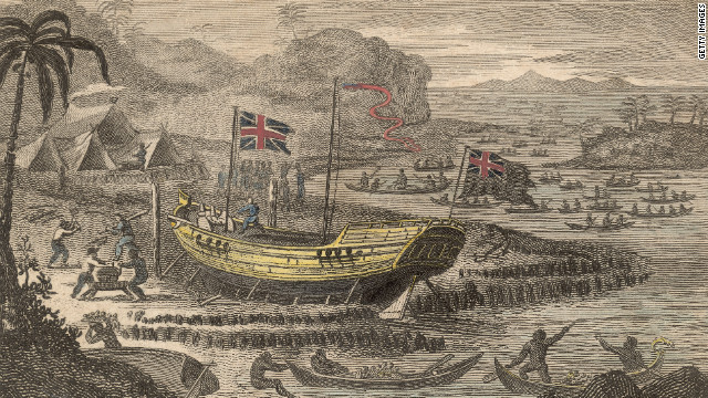 One of the best known trading companies of the era was Britain's East India Company. This historic painting depicts the company's Captain Henry Wilson shipwrecked on the Pelew Islands, later the Republic of Palau, around 1783.